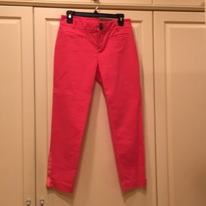 Anthropologie pink cropped ankle pants